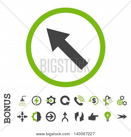 Up-Left Rounded Arrow glyph bicolor icon. Image style is a flat pictogram symbol, eco green and gray colors, white background.