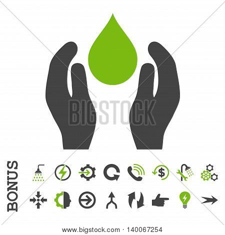 Water Care glyph bicolor icon. Image style is a flat pictogram symbol, eco green and gray colors, white background.