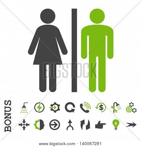 WC Persons glyph bicolor icon. Image style is a flat pictogram symbol, eco green and gray colors, white background.