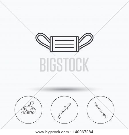 Medical mask, scalpel and pipette icons. Surgical lamp linear sign. Linear icons in circle buttons. Flat web symbols. Vector