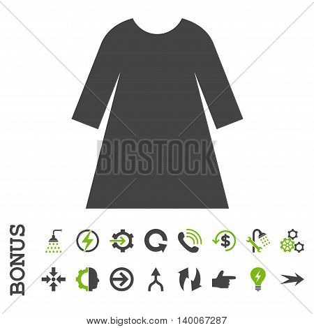 Woman Dress glyph bicolor icon. Image style is a flat iconic symbol, eco green and gray colors, white background.