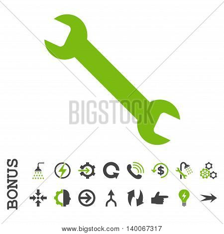 Wrench glyph bicolor icon. Image style is a flat pictogram symbol, eco green and gray colors, white background.