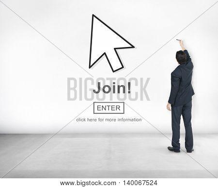 Join Register Enter Arrow Icon Concept