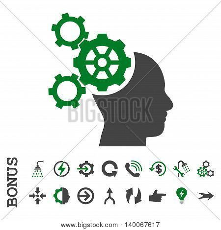 Brain Mechanics glyph bicolor icon. Image style is a flat pictogram symbol, green and gray colors, white background.