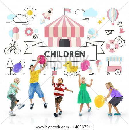 Children Kids Energetic Youth Playful Concept