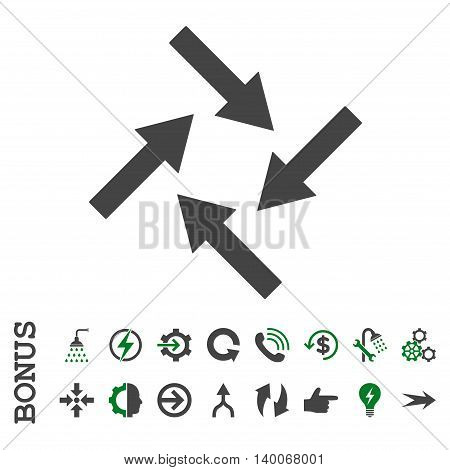 Centripetal Arrows glyph bicolor icon. Image style is a flat iconic symbol, green and gray colors, white background.