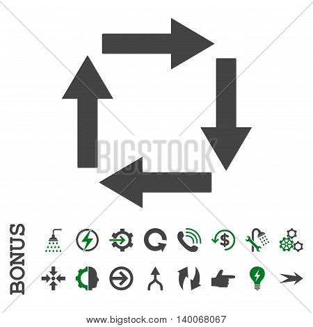 Circulation Arrows glyph bicolor icon. Image style is a flat iconic symbol, green and gray colors, white background.