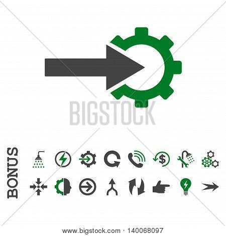 Cog Integration glyph bicolor icon. Image style is a flat pictogram symbol, green and gray colors, white background.