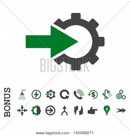 Cog Integration glyph bicolor icon. Image style is a flat iconic symbol, green and gray colors, white background.