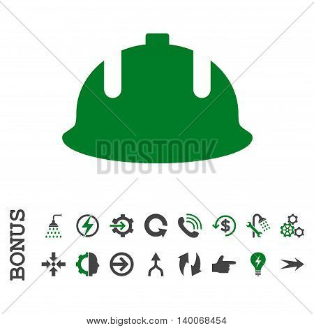 Construction Helmet glyph bicolor icon. Image style is a flat pictogram symbol, green and gray colors, white background.