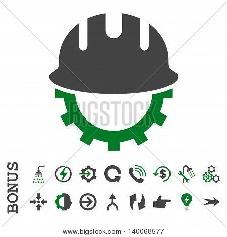 Development Hardhat glyph bicolor icon. Image style is a flat pictogram symbol, green and gray colors, white background.