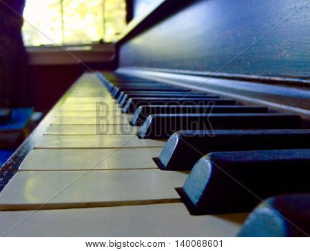 Close up of an upright Piano's keys