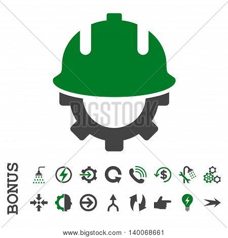 Development Helmet glyph bicolor icon. Image style is a flat pictogram symbol, green and gray colors, white background.