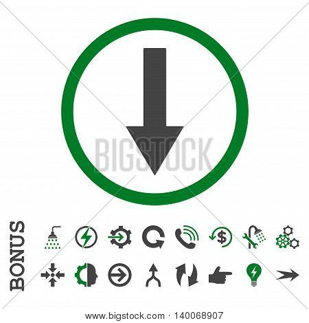 Down Rounded Arrow glyph bicolor icon. Image style is a flat iconic symbol, green and gray colors, white background.