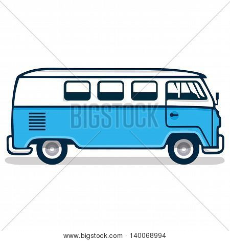 Vintage Blue Volkswagen Van Vector Illustration Clipart
