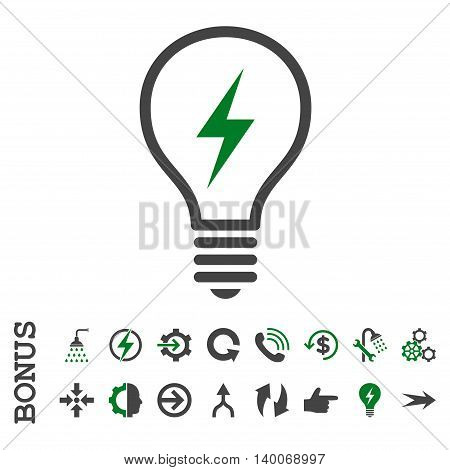 Electric Bulb glyph bicolor icon. Image style is a flat pictogram symbol, green and gray colors, white background.