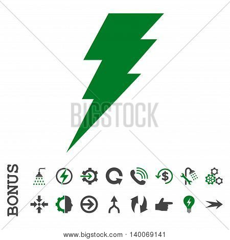 Execute glyph bicolor icon. Image style is a flat pictogram symbol, green and gray colors, white background.