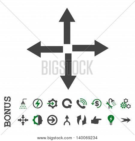 Expand Arrows glyph bicolor icon. Image style is a flat pictogram symbol, green and gray colors, white background.