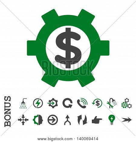 Financial Settings glyph bicolor icon. Image style is a flat pictogram symbol, green and gray colors, white background.