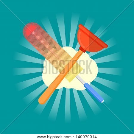 Cleaning service logo icon flat vector illustration