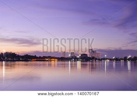 Sunset view lakeside city of Khon Kaen