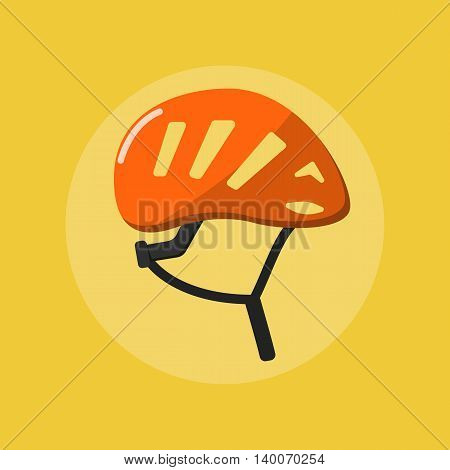 Isolated orange climbing helmet vector flat icon