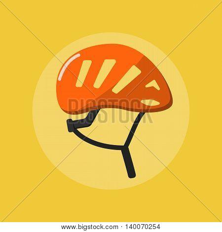 Isolated orange climbing helmet vector flat icon