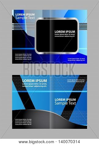 Empty bi-fold brochure template design with blue color, booklet