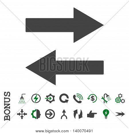 Horizontal Flip Arrows glyph bicolor icon. Image style is a flat iconic symbol, green and gray colors, white background.