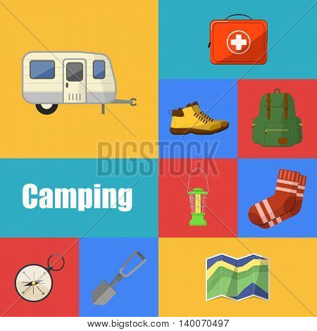 Camping and hiking symbols and icons set flat vector illustration