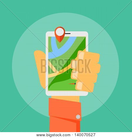 Search route concept vector illustration. Mobile GPS navigation. Tablet PC and mobile phone map.