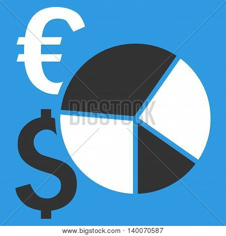 Financial Pie Chart vector icon. Style is flat symbol, white color, blue background.