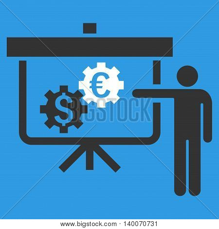 International Banking Project vector icon. Style is flat symbol, white color, blue background.