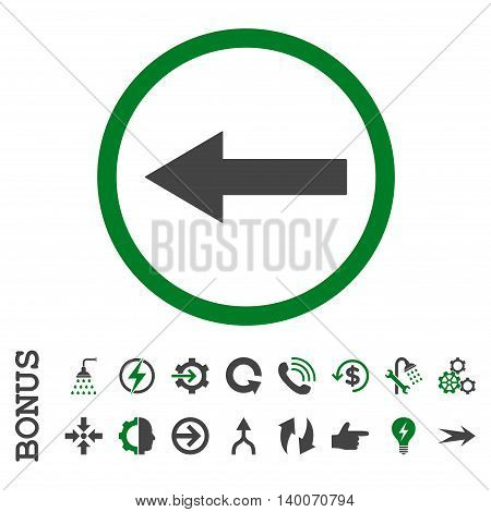 Left Rounded Arrow glyph bicolor icon. Image style is a flat iconic symbol, green and gray colors, white background.