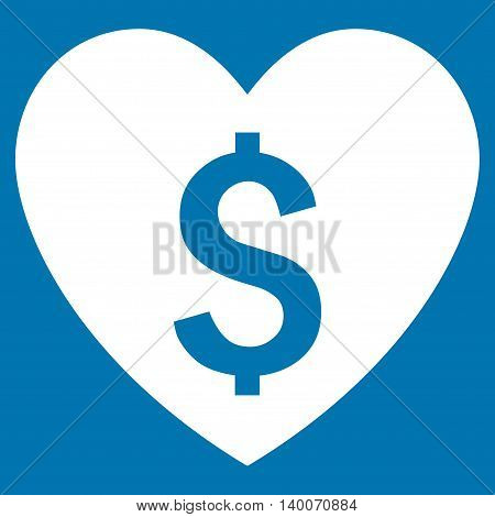 Paid Love vector icon. Style is flat symbol, white color, blue background.