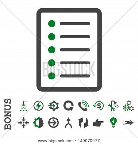 List Page glyph bicolor icon. Image style is a flat pictogram symbol, green and gray colors, white background.