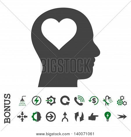 Lover Head glyph bicolor icon. Image style is a flat iconic symbol, green and gray colors, white background.