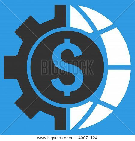 World Industry Finances vector icon. Style is flat symbol, white color, blue background.