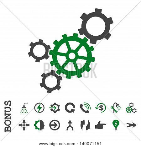 Mechanism glyph bicolor icon. Image style is a flat iconic symbol, green and gray colors, white background.