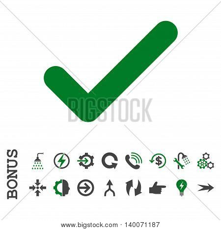 Ok glyph bicolor icon. Image style is a flat iconic symbol, green and gray colors, white background.