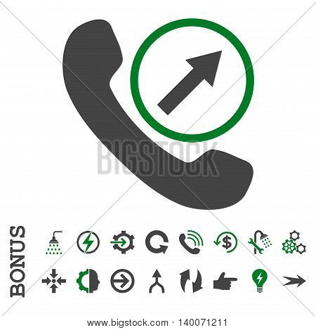 Outgoing Call glyph bicolor icon. Image style is a flat iconic symbol, green and gray colors, white background.