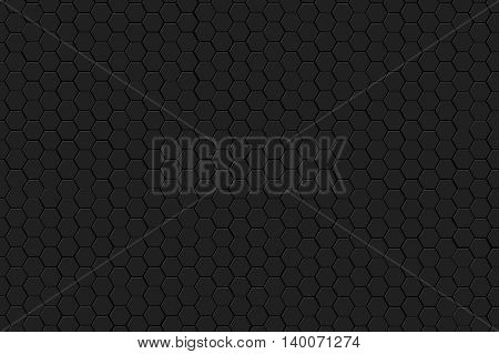grey hexagon on black background and texture. 3d illustration.