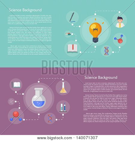 Banner of education infographics concept icon flat design vector illustration