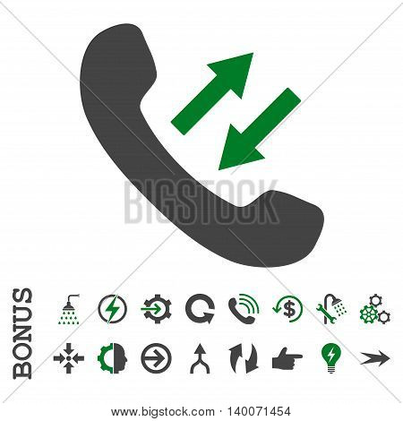 Phone Talking glyph bicolor icon. Image style is a flat pictogram symbol, green and gray colors, white background.