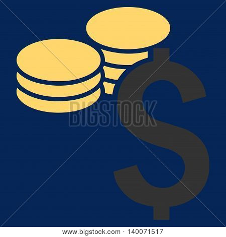 Dollar Coins vector icon. Style is flat symbol, yellow color, blue background.