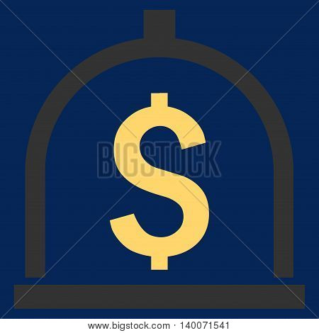 Dollar Deposit vector icon. Style is flat symbol, yellow color, blue background.