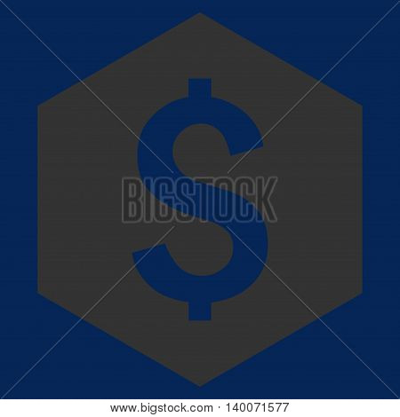 Dollar Hexagon vector icon. Style is flat symbol, yellow color, blue background.