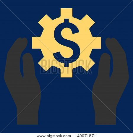 Financial Insurance Options vector icon. Style is flat symbol, yellow color, blue background.