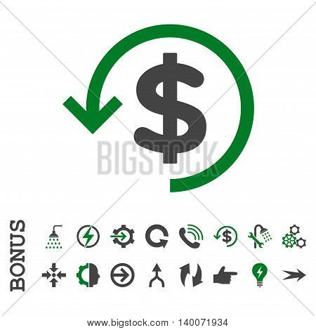 Refund glyph bicolor icon. Image style is a flat iconic symbol, green and gray colors, white background.