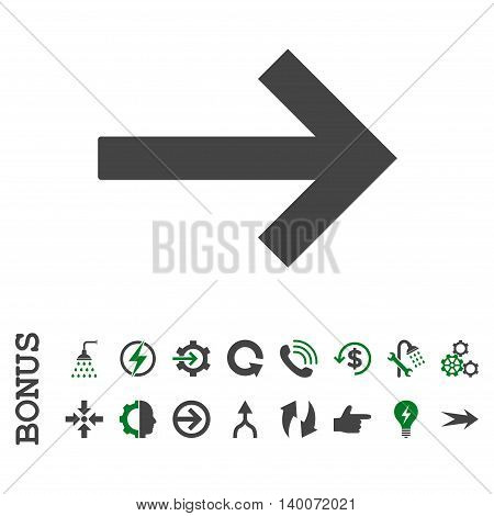 Right Arrow glyph bicolor icon. Image style is a flat iconic symbol, green and gray colors, white background.